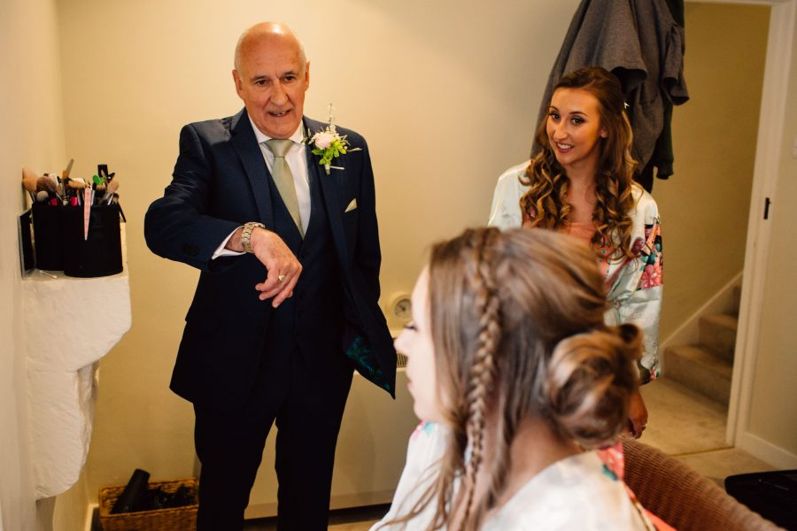 father of bride checking watch