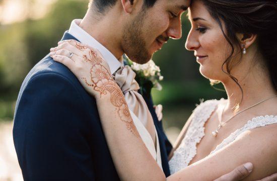 romantic newlywed portrait