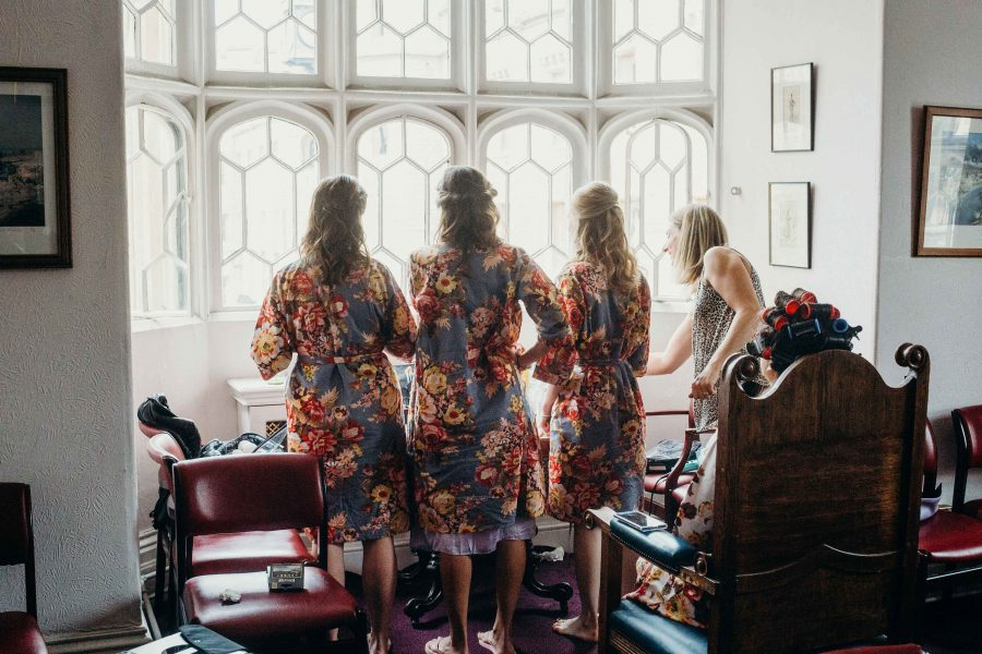 Bridesmaids getting ready at the Tower of London