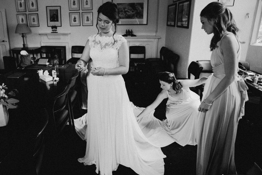 final touches to the brides pronovnas dresses at the tower of london