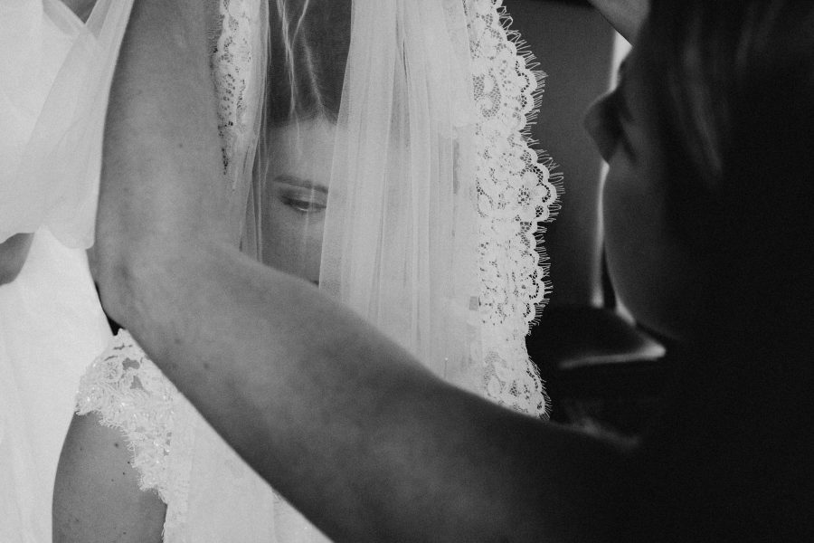 artistic shot of bridal veil during bridal prep at the tower of london