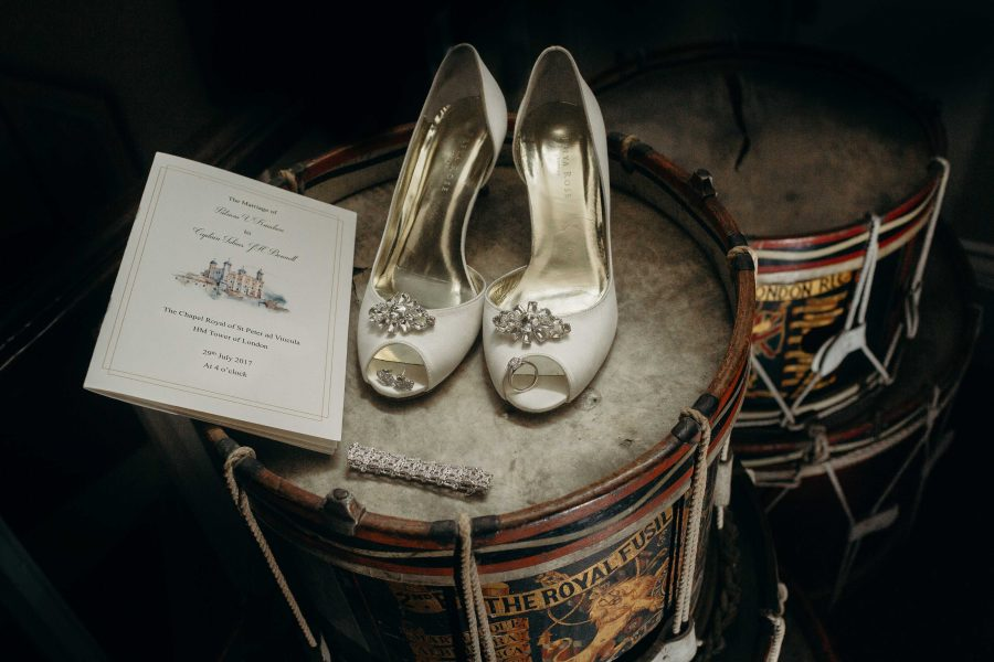 Wedding shoes and Details on a historic drum at the Tower of London