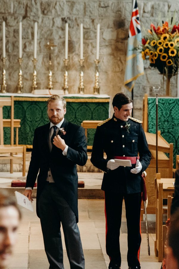 groom preparing for wedding at the Chapel Royal at the Tower of London