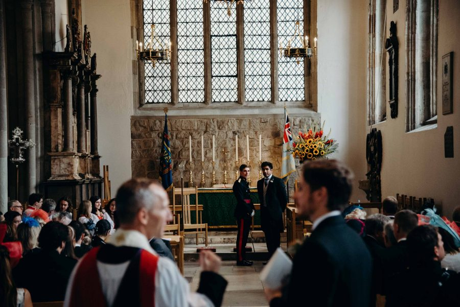 Priest arriving at tower of london wedding