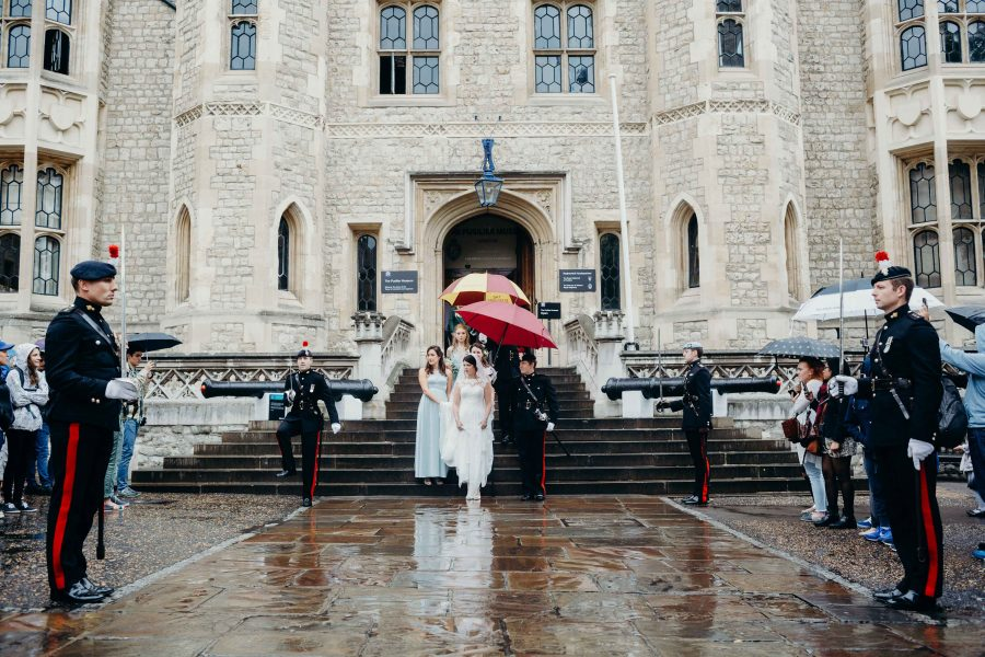 Bride being met by honour guard at the tower of london