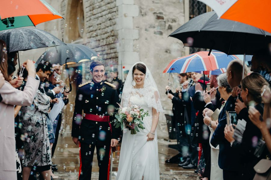 wedding bubbles for confetti at the tower of london