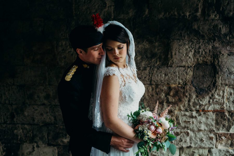 Beautiful bridal portrait at the tower of london