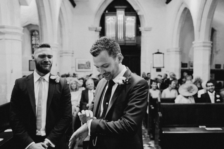 groom in church waiting for bride at st James church marlow