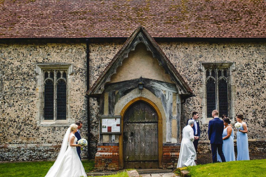 Bride arriving at st john's church marlow