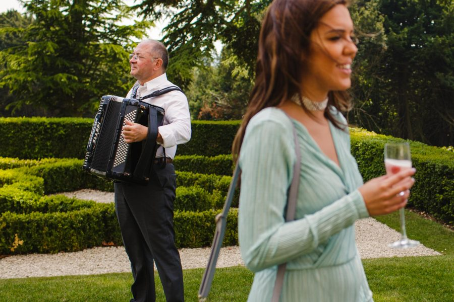 Accordion player at Hedsor House Wedding