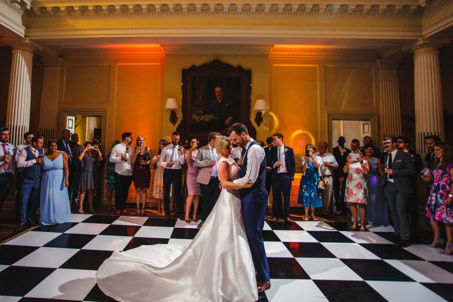 first dance on checqued dance floor at Hedsor
