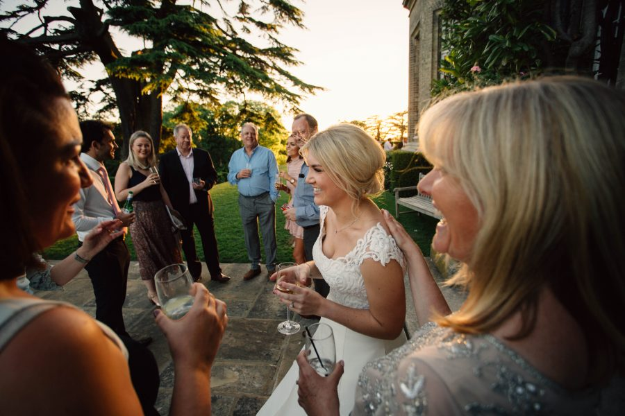 bride mingling with guests