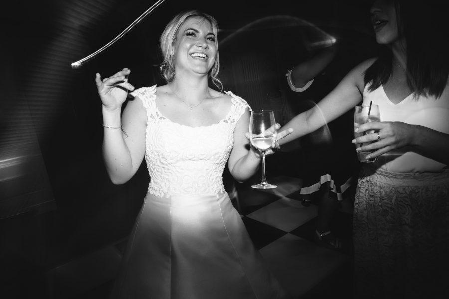 bride dancing at evening reception