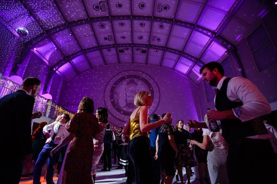 wedding guests dancing at sunbeam studios