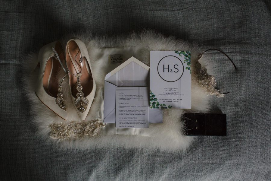 wedding details styled as flat lay