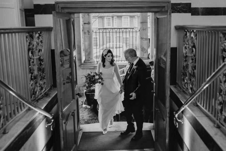 bride arriving for her wedding at Sunbeam studios