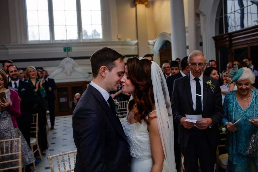 first kiss at sunbeam studios wedding