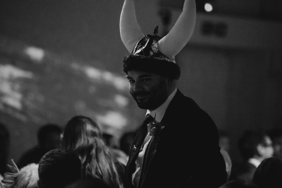 man dressed in viking hat