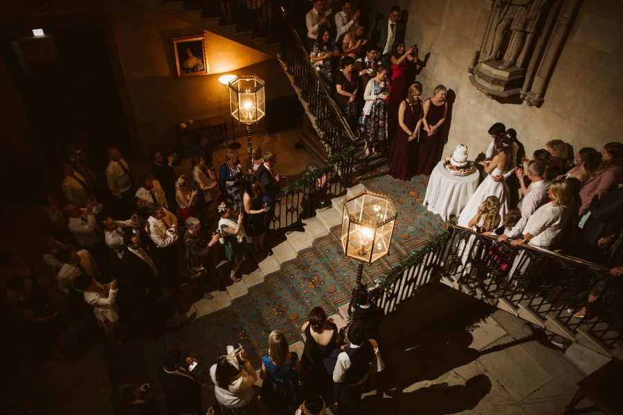 Cutting the cake viewed from above Ashridge House