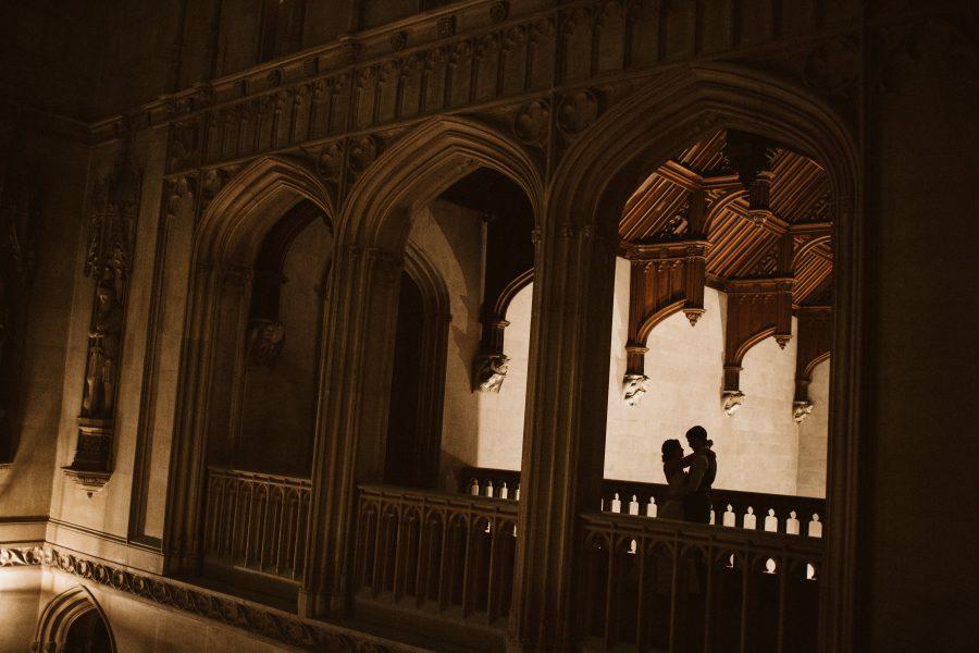 Shadow of bride and groom at Ashridge House