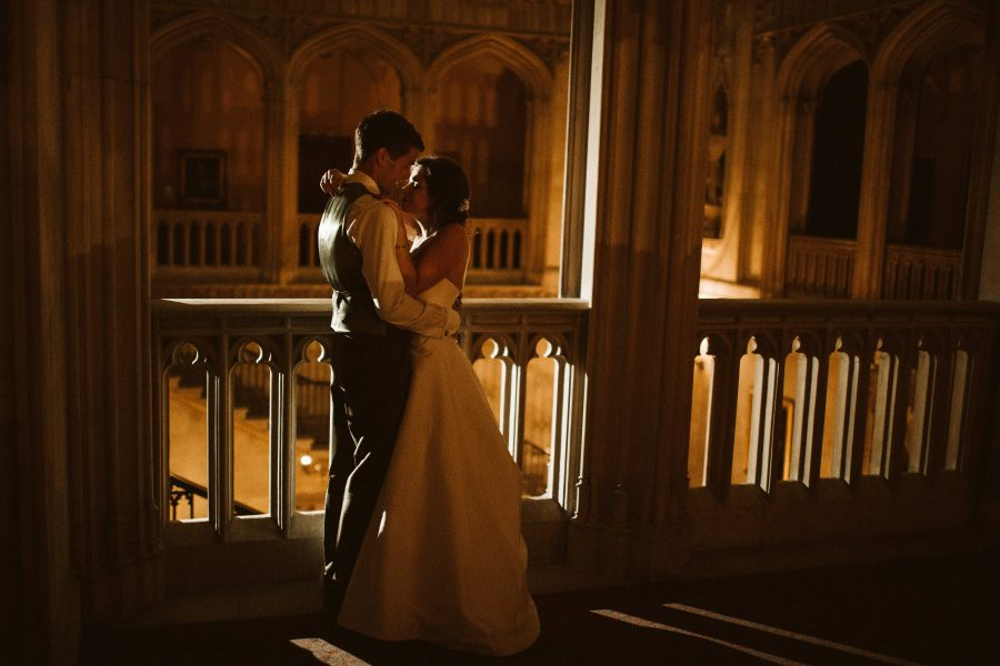 Couples portrait in evening at Ashridge House