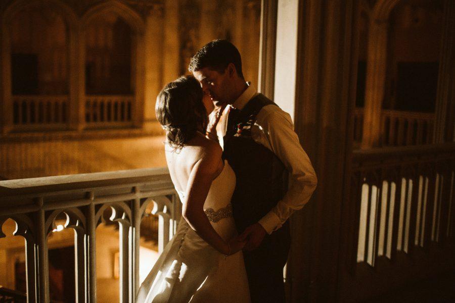 Bridal portait on staircase at Ashridge House