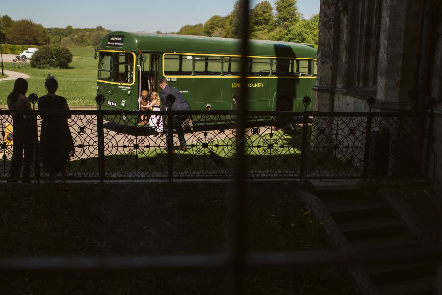 vintage green wedding bus