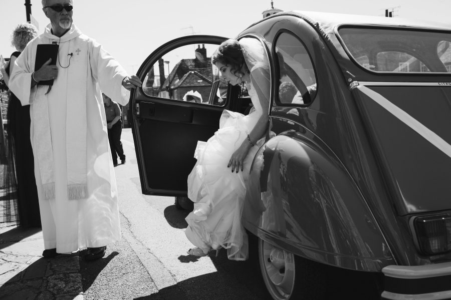 bride exiting wedding car