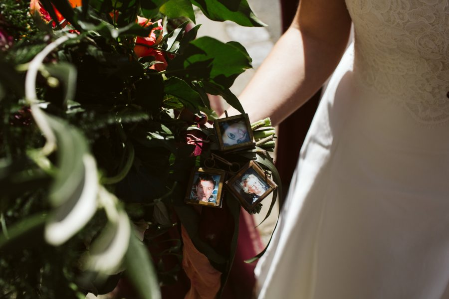 bridal flowers with photographs of departed loved ones