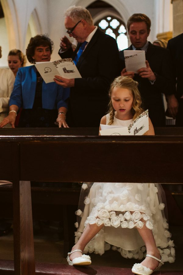 flower girl reading sermon