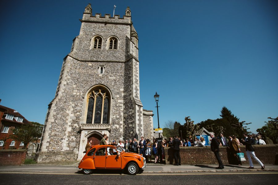 Citroen CV outside church
