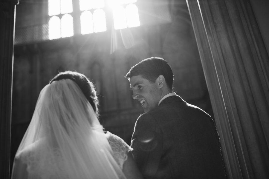 bride and groom arriving at Ashridge House is dusky light