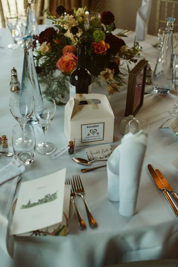 table setting at wedding at Ashridge