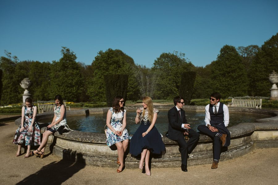 wedding guests relaxing at Ashridge House