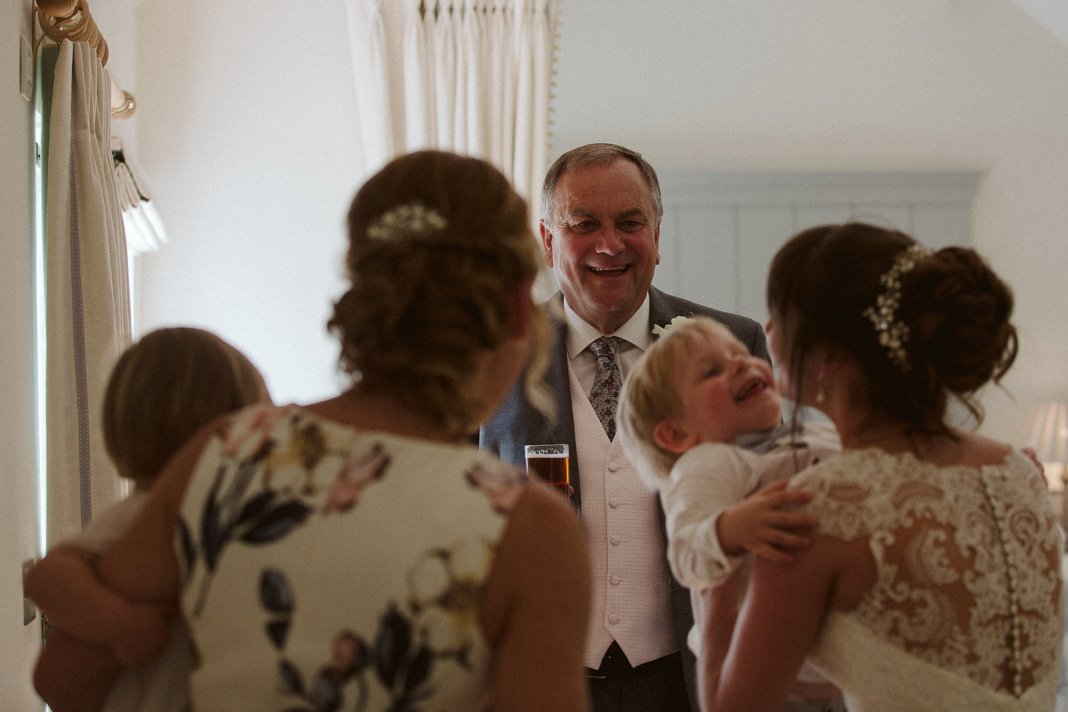 bride surrounded by family