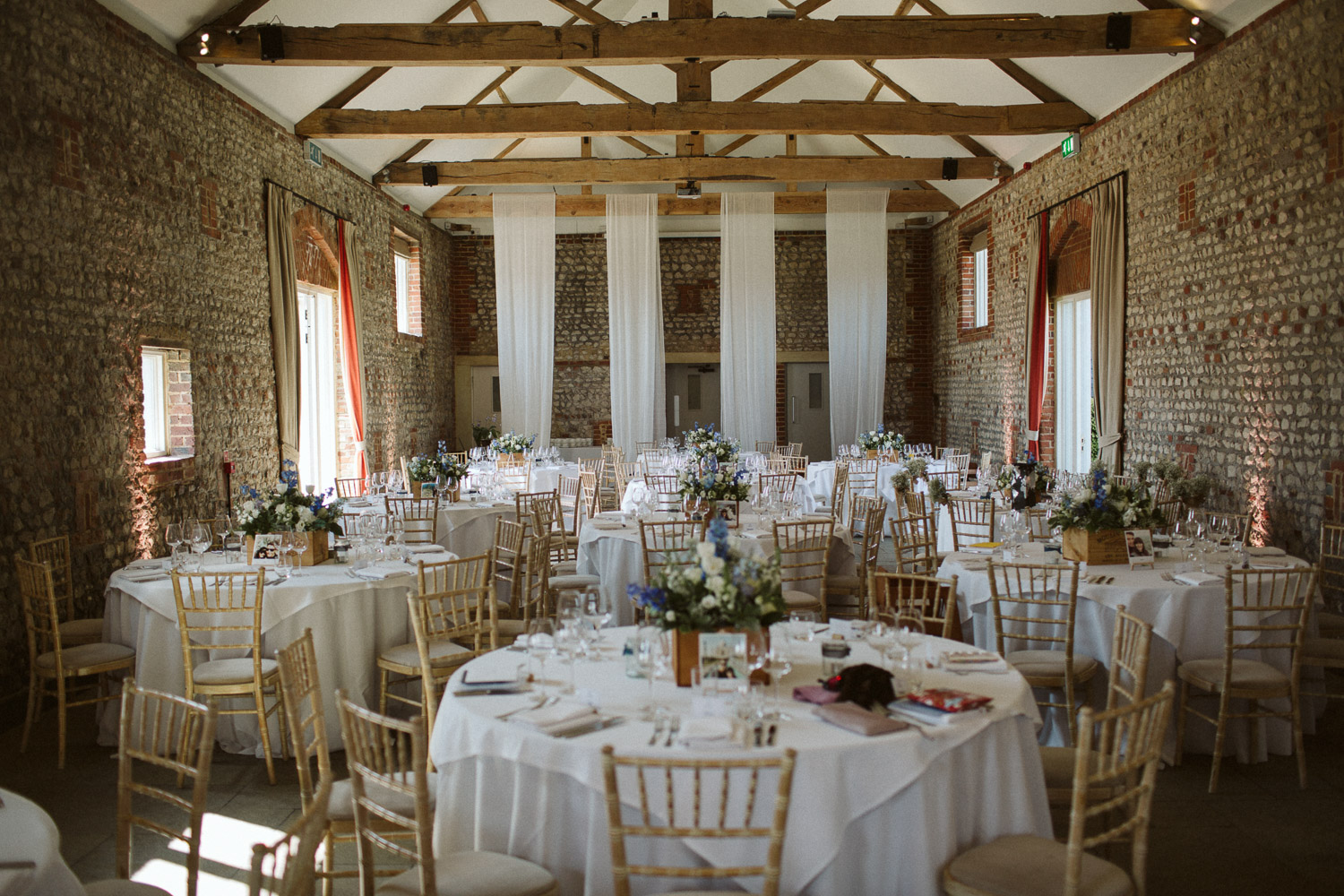 the large barn ready for the wedding breakfast