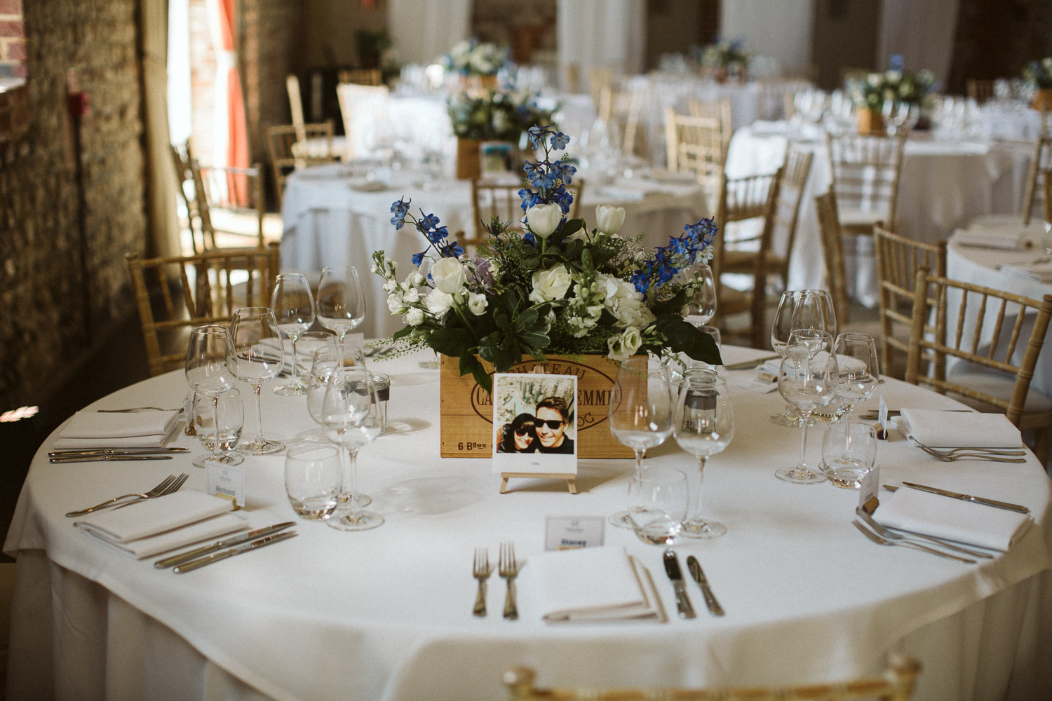 tables decorated with travel photos
