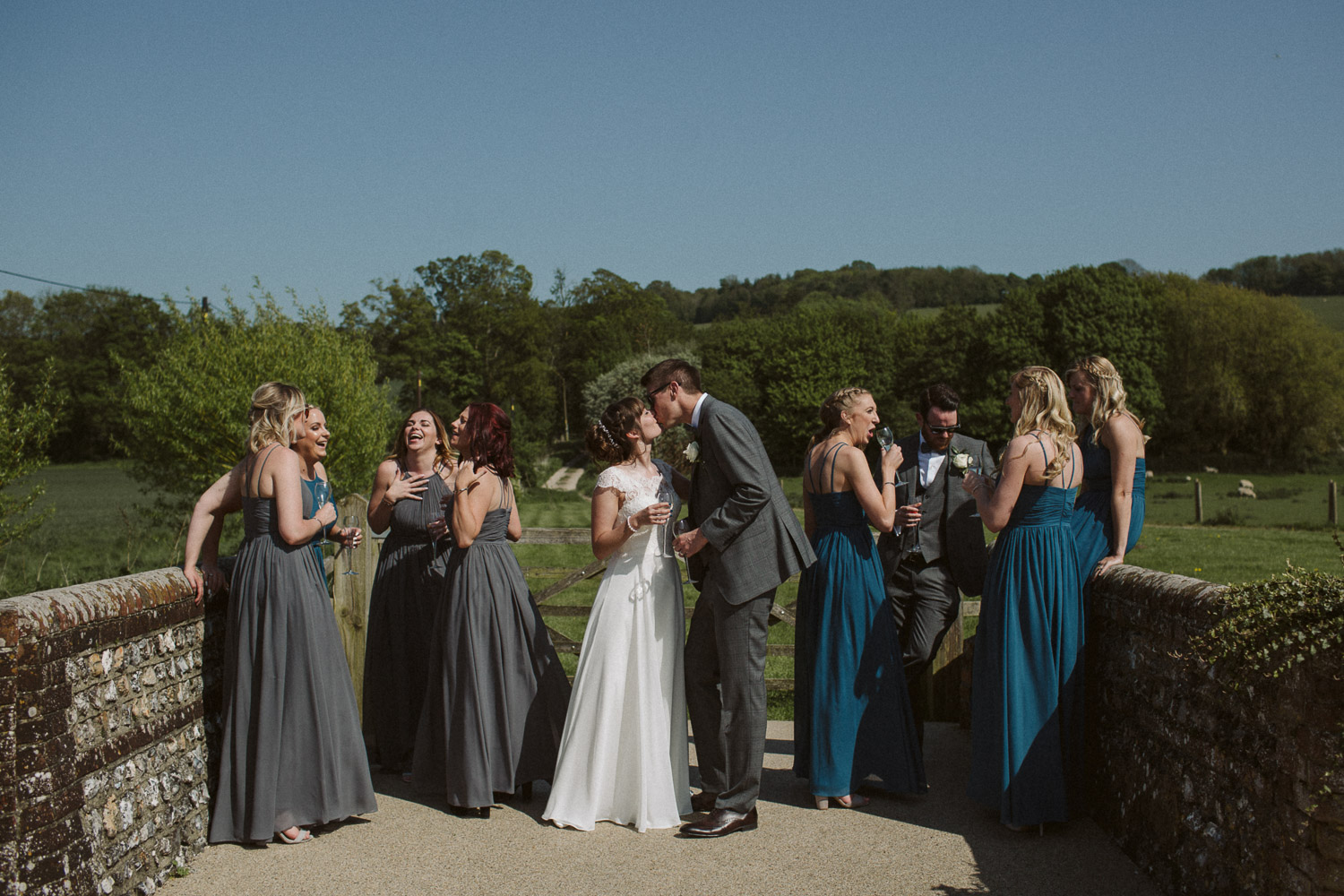 the bridal party in a portrait
