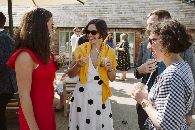 a guest in a polka dot dress!