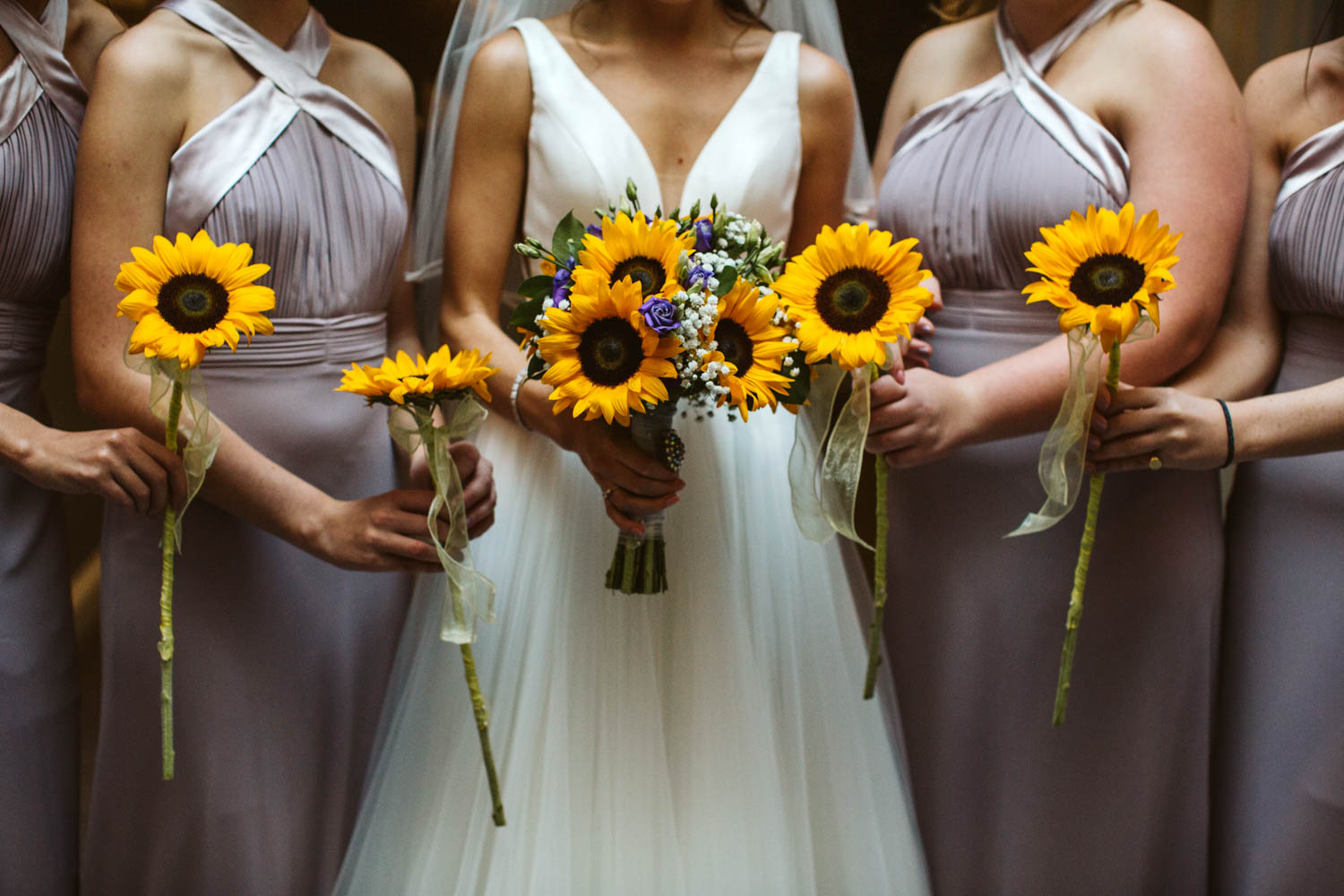 bridesmaids holding the bouquets