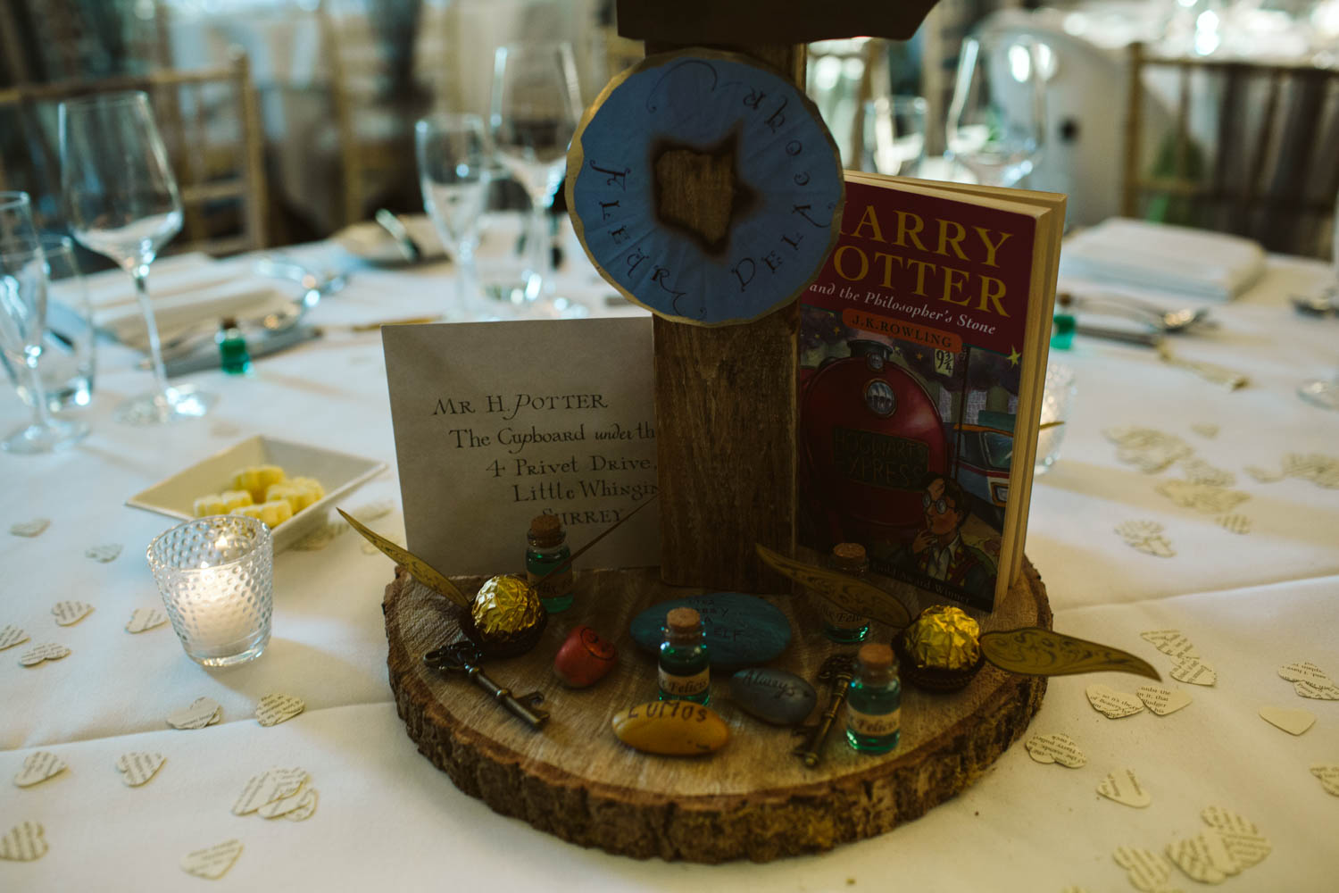 close-up of table decorations