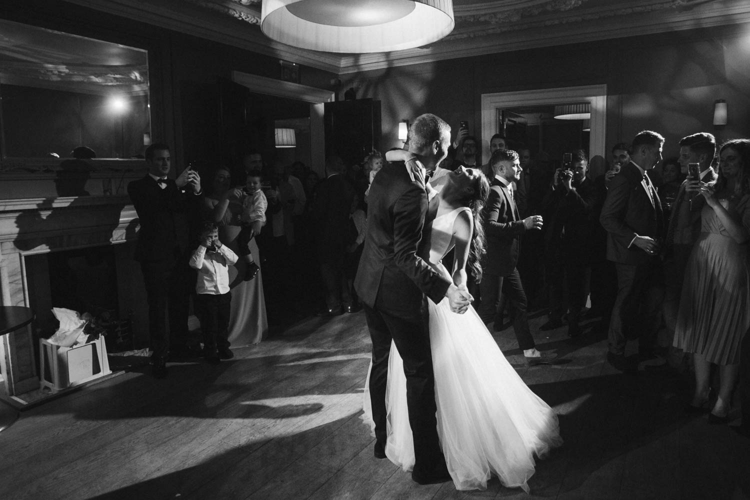 wide-angle first dance photo