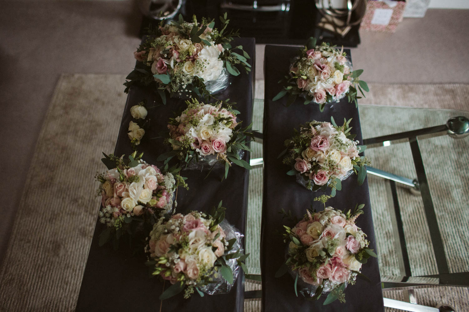 the wedding flowers photographed from above