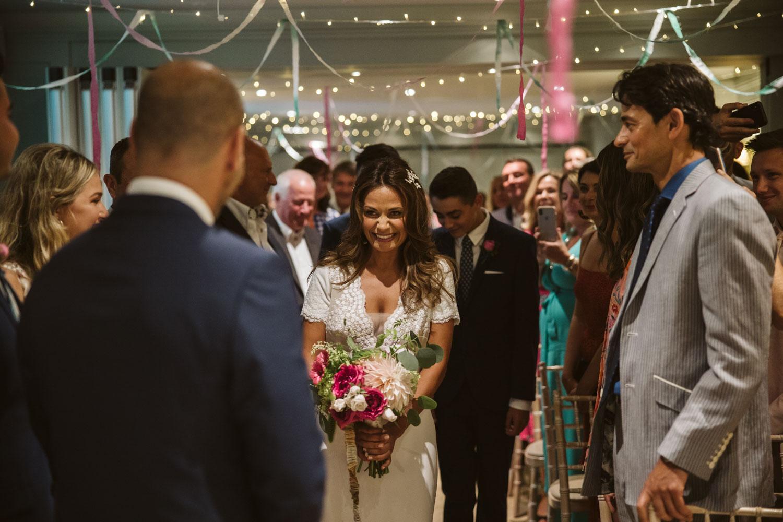 Bride arriving at ceremony at Bingham Riverhouse