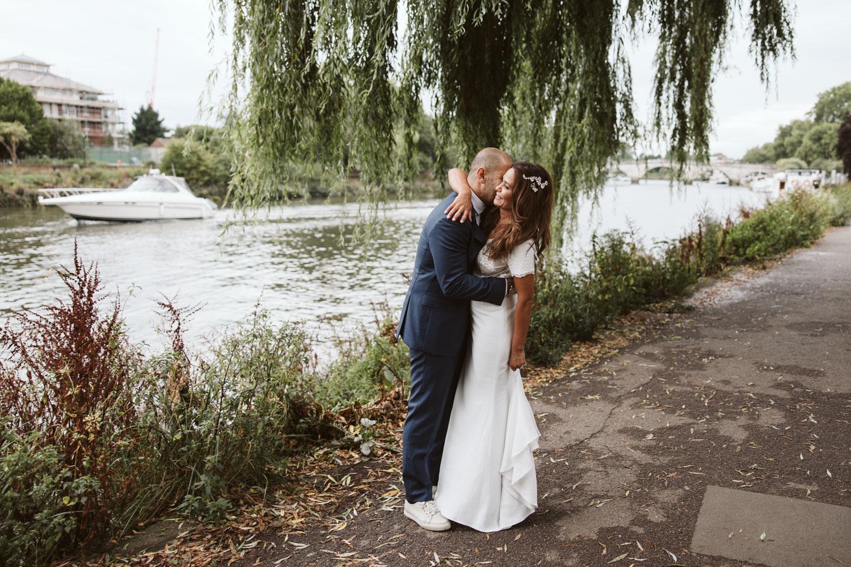Bridal portrait by River Thames
