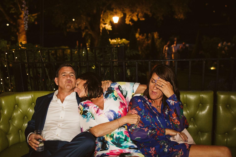 Drunk wedding guests relaxing