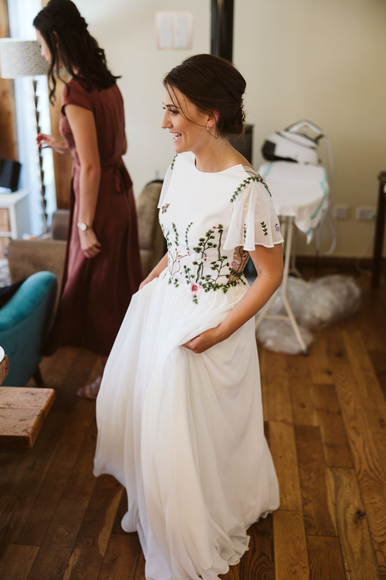 stunning bride in her Abigail of gardenia dress