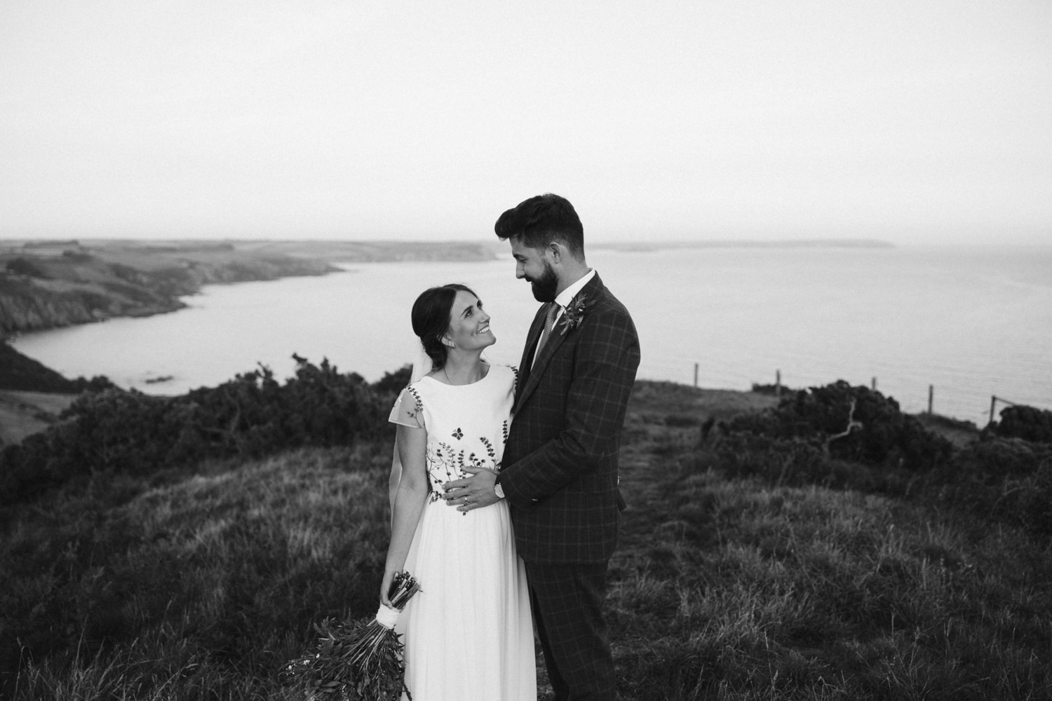 black and white portrait of the newlyweds