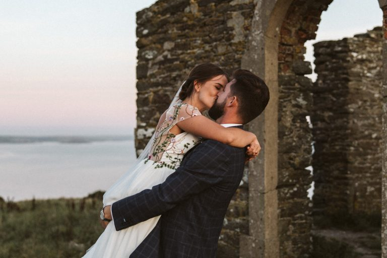 Newly weds and a stunning view over Carswell Farm