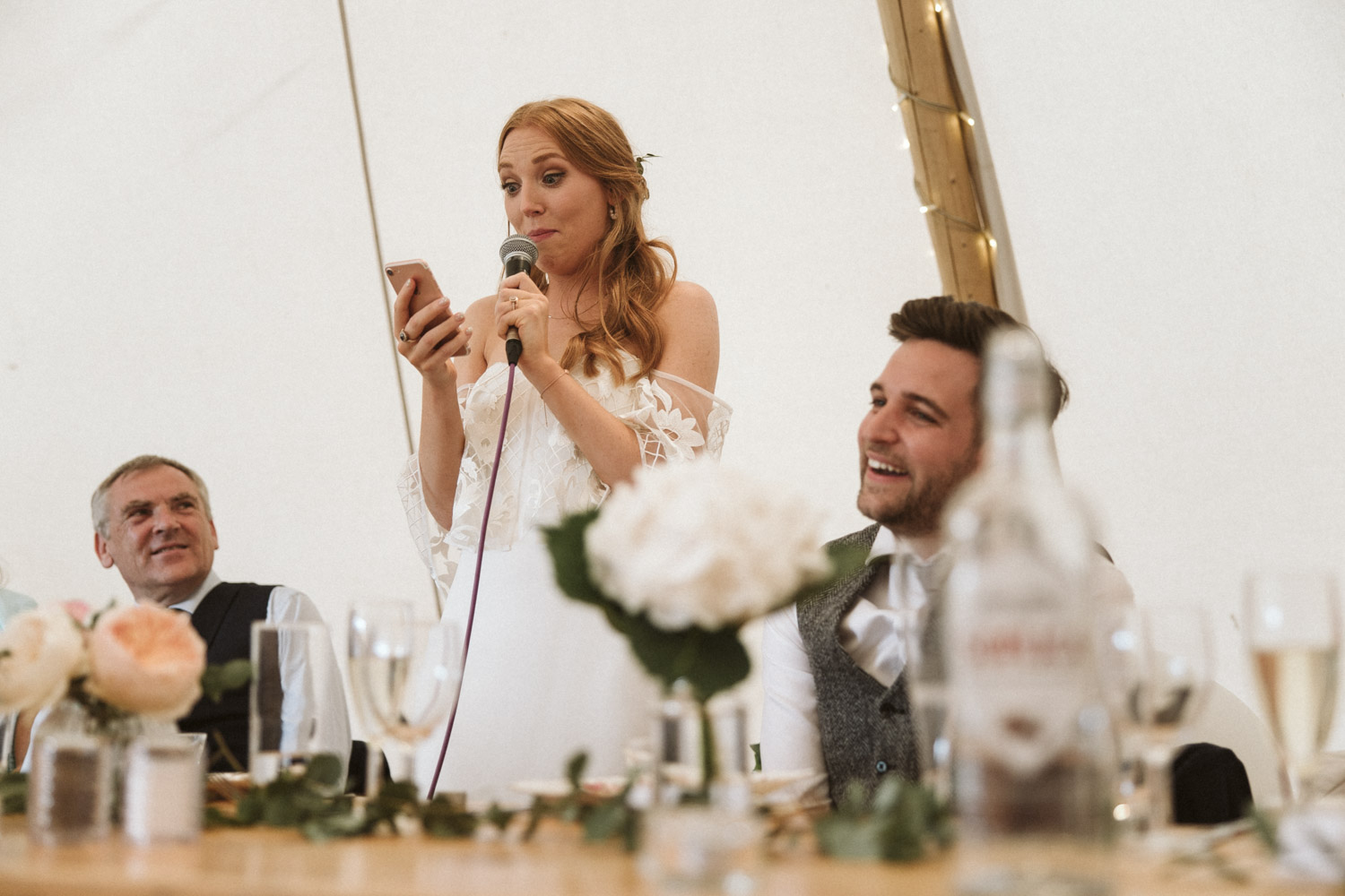 the bride reading her speech